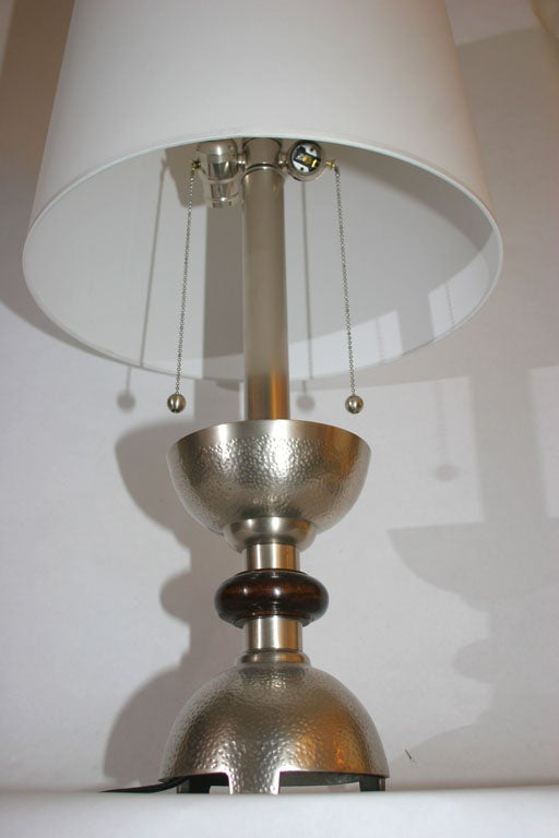 Table Lamps Pair Art Deco silver plated and wood In Good Condition For Sale In New York, NY