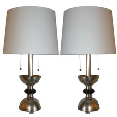 Table Lamps Pair Art Deco silver plated and wood