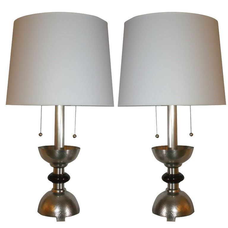 Table Lamps Pair Art Deco silver plated and wood For Sale
