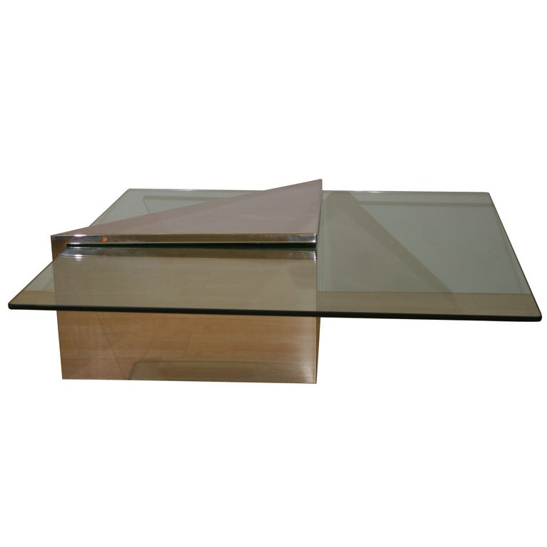 Deco Chrome Coffee Table: Chrome And Glass Coffee Table By Deco At 1stdibs