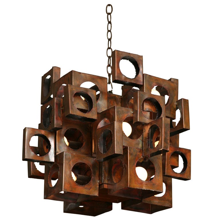 Cubist copper chandelier by tom greene for feldman lighting at 1stdibs cubist copper chandelier by tom greene for feldman lighting 1 aloadofball Gallery