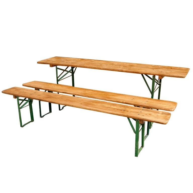 German Beer Hall Table   Benches 1. German Beer Hall Table and Benches at 1stdibs