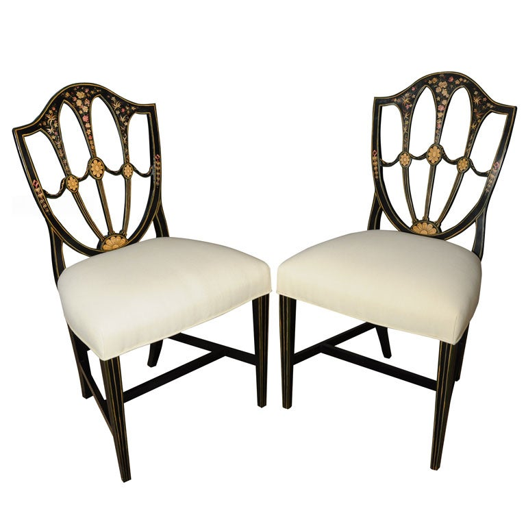 Hand Painted Hepplewhite Style Chairs At 1stdibs