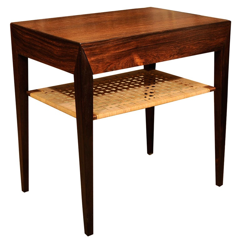Midcentury Rosewood Side Table With Rattan Shelf At 1stdibs