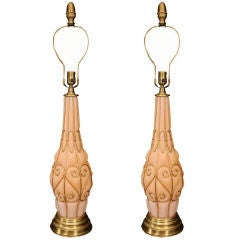 Large Pair of Coral Murano Lamps with Brass Details by Marbro