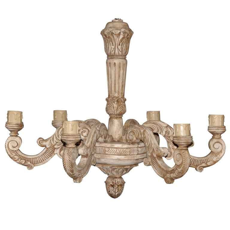 Carved wood chandelier at 1stdibs for Wood pendant chandelier