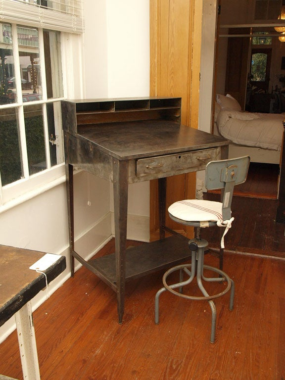 Industrial Metal Work Desk With Swivel Chair At 1stdibs