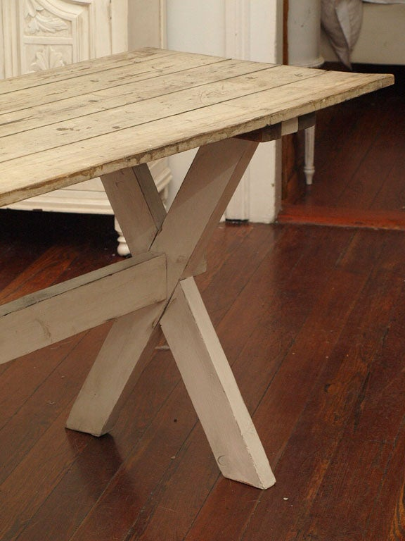 Plank Top Trestle Farm Table 19th c. image 3
