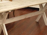 Plank Top Trestle Farm Table 19th c. thumbnail 4