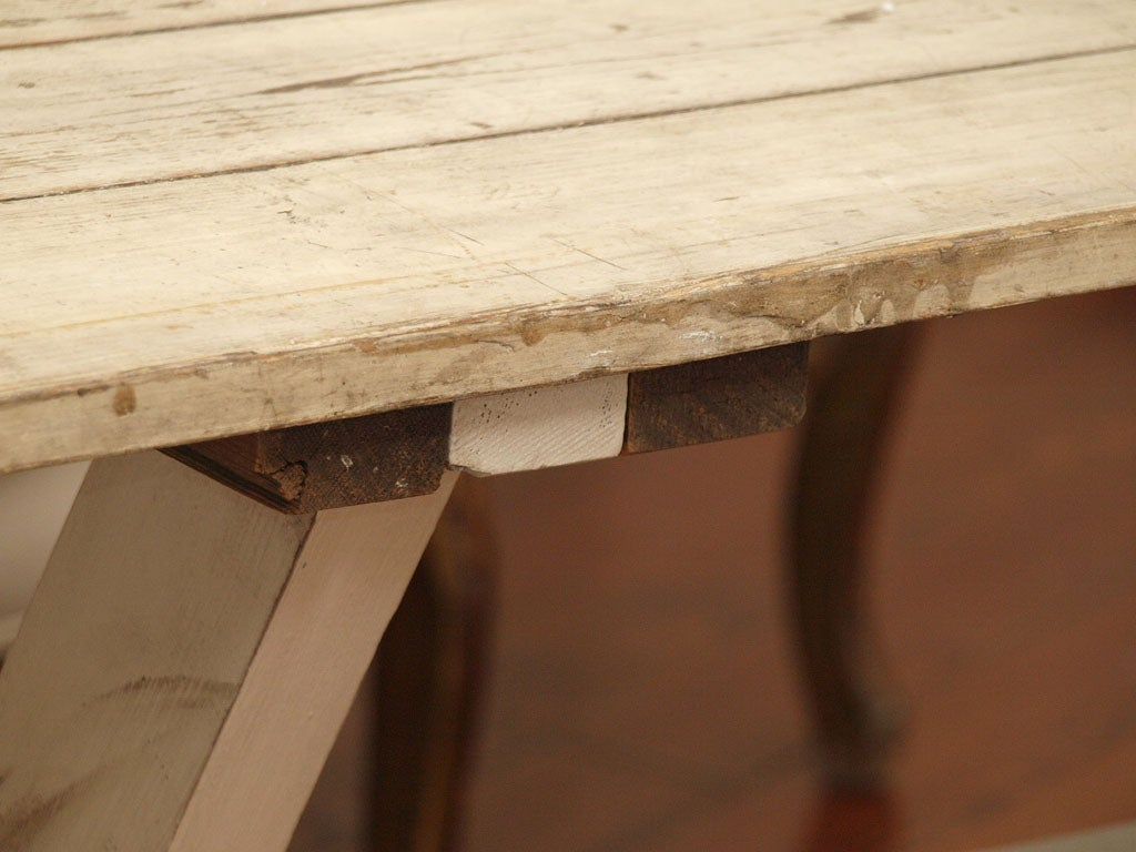 Plank Top Trestle Farm Table 19th c. image 6
