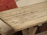 Plank Top Trestle Farm Table 19th c. thumbnail 8