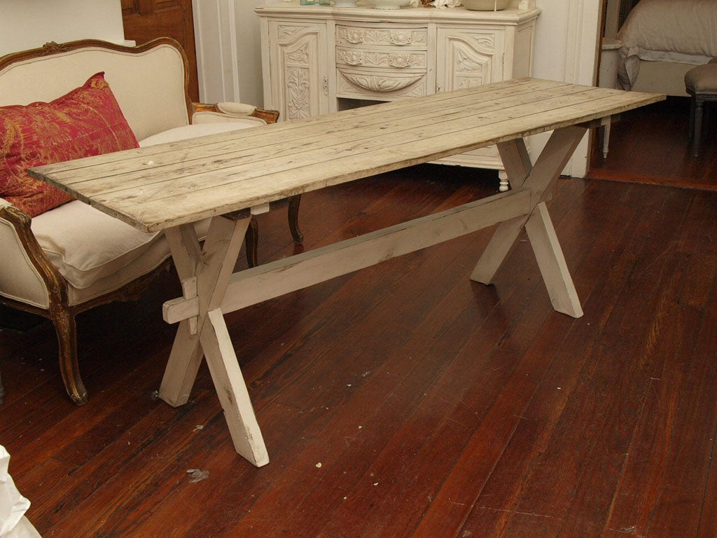 Plank Top Trestle Farm Table 19th c. image 2