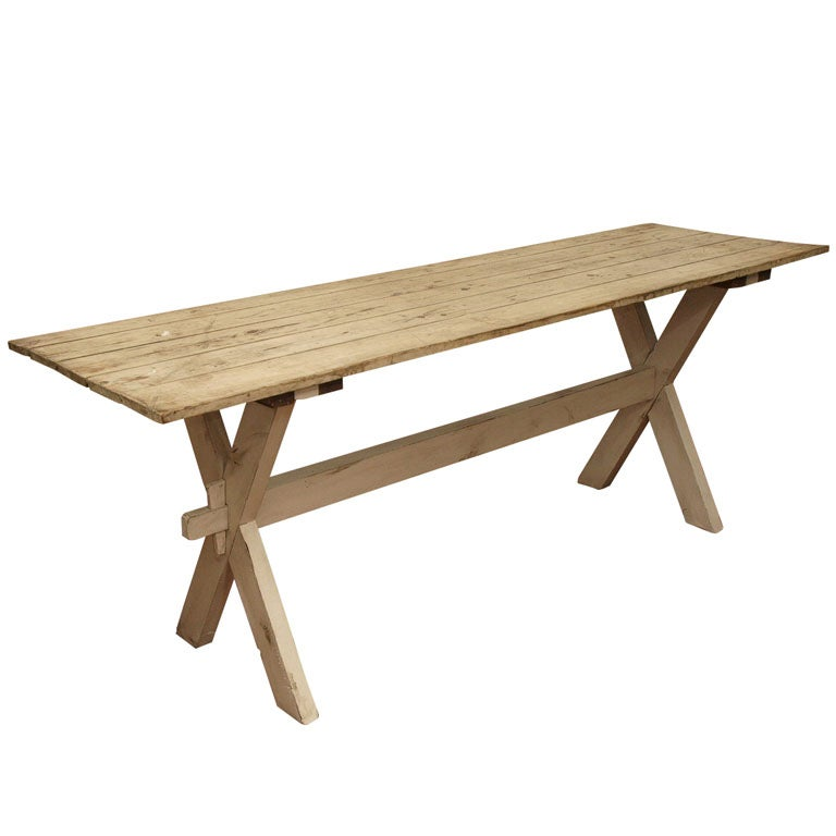 Plank Top Trestle Farm Table 19th c.