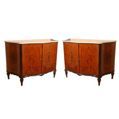 Pair Edwardian Adams Style Marble-Top Curved Front Finely Detailed Commodes