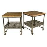 Pair of Industrial Wood Top Work Tables