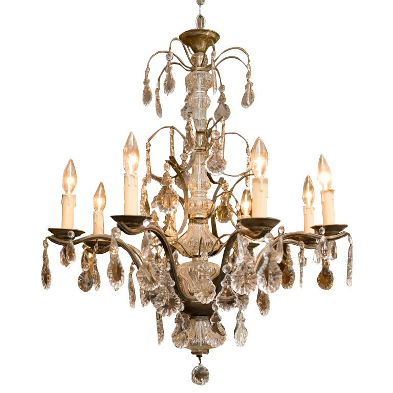Antique French Silvered 8 Branch Chandelier At 1stdibs