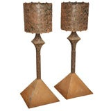 Pair Of Sculptural Torch-Cut Steel Floor Lamps