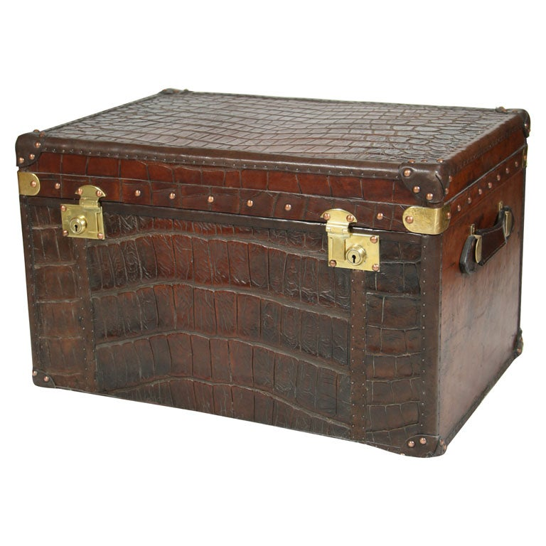 Antique crocodile skin and leather trunk at 1stdibs - Leather chests and trunks ...