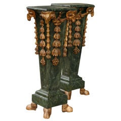 Pair Marbleized and Gilt Carved Wood Pedestals