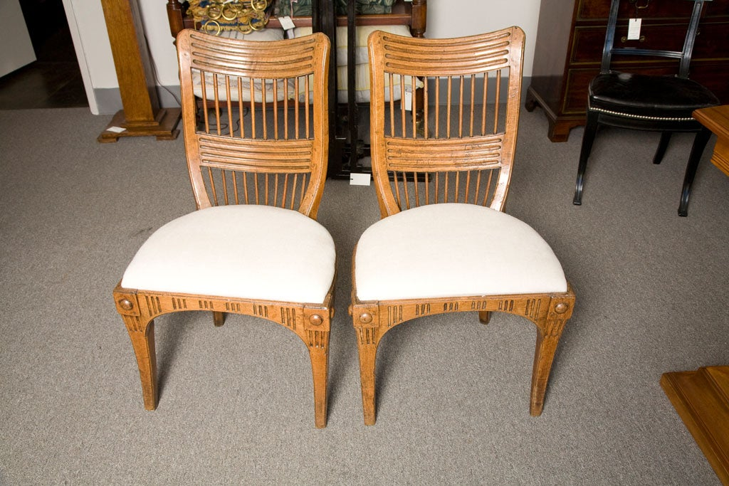 A pair of italian provincial walnut side chairs circa for Furniture 1825