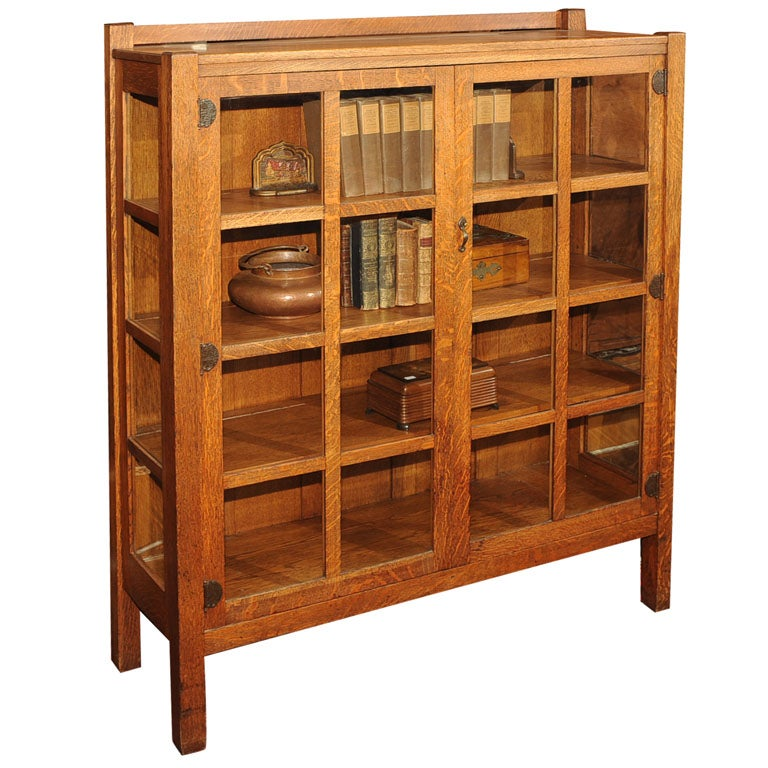 Arts and Crafts China Cabinet/Bookcase, Quaint/Stickley Bros.