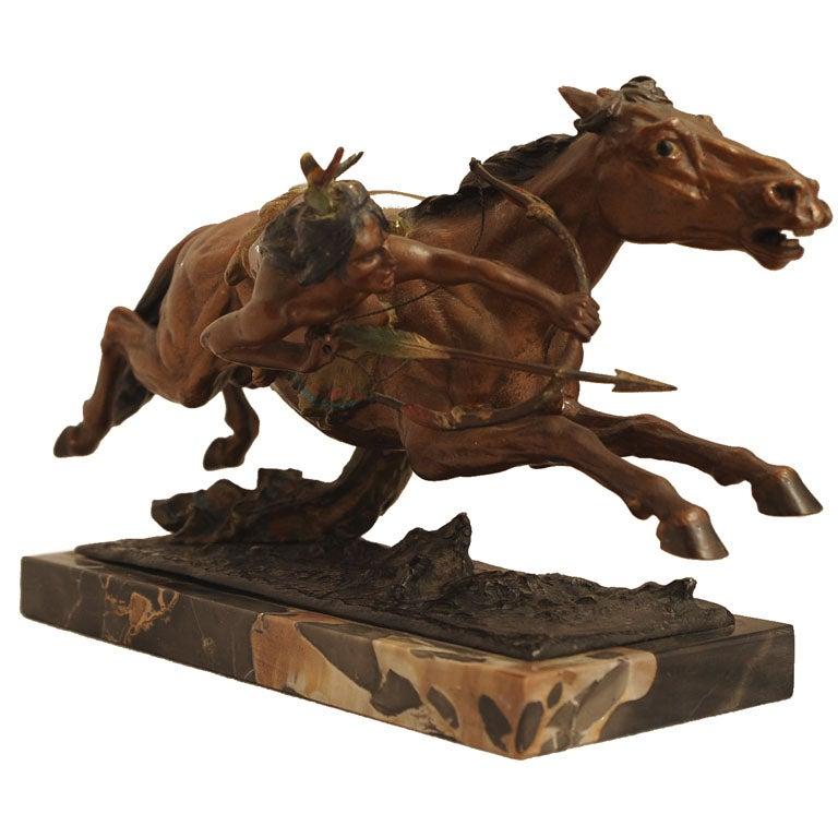 franz bergmann cold painted vienna bronze indian on horse at 1stdibs. Black Bedroom Furniture Sets. Home Design Ideas