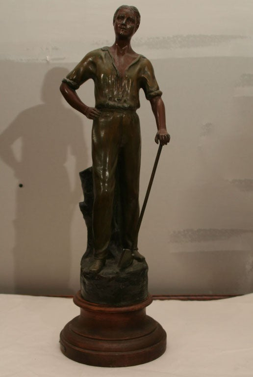Polychromed Spelter Figure of Woodsman by A. Rucho image 2