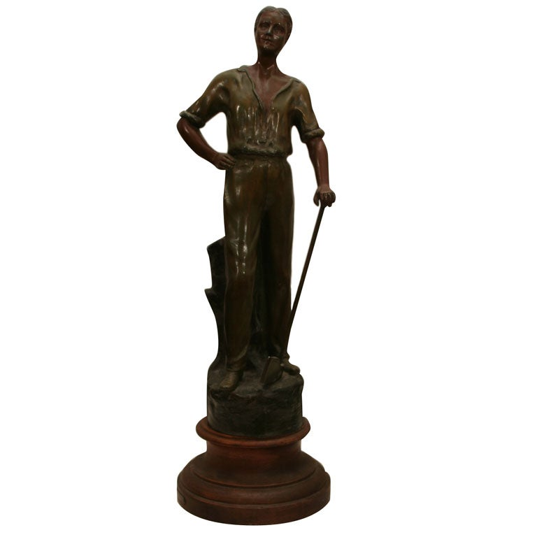 Polychromed Spelter Figure of Woodsman by A. Rucho