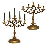 Pair of Brass Candlelabra