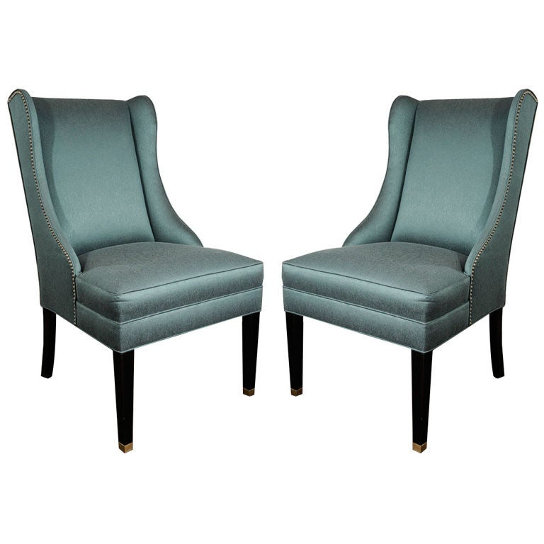 Pair Of 1940 S High Back Wing Chairs In Teal At 1stdibs