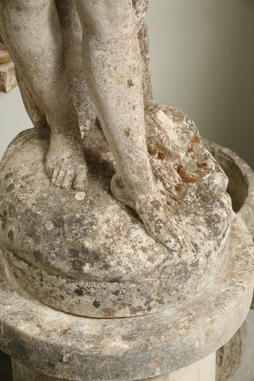 19th Century Composite Stone Garden Statue of a Lady taking her Bath For Sale
