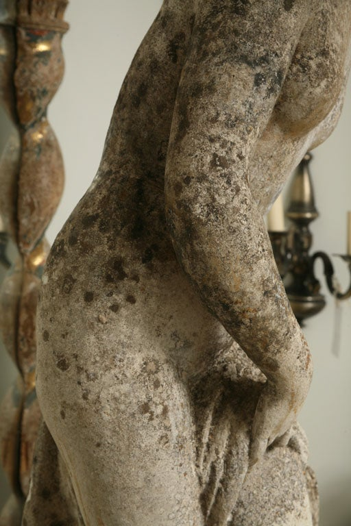 Composition Composite Stone Garden Statue of a Lady taking her Bath For Sale