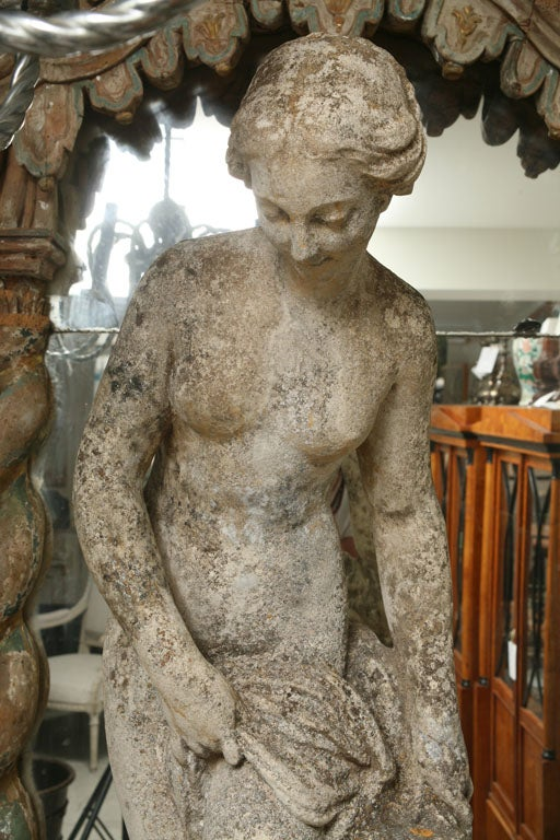 Composite Stone Garden Statue of a Lady taking her Bath For Sale 1