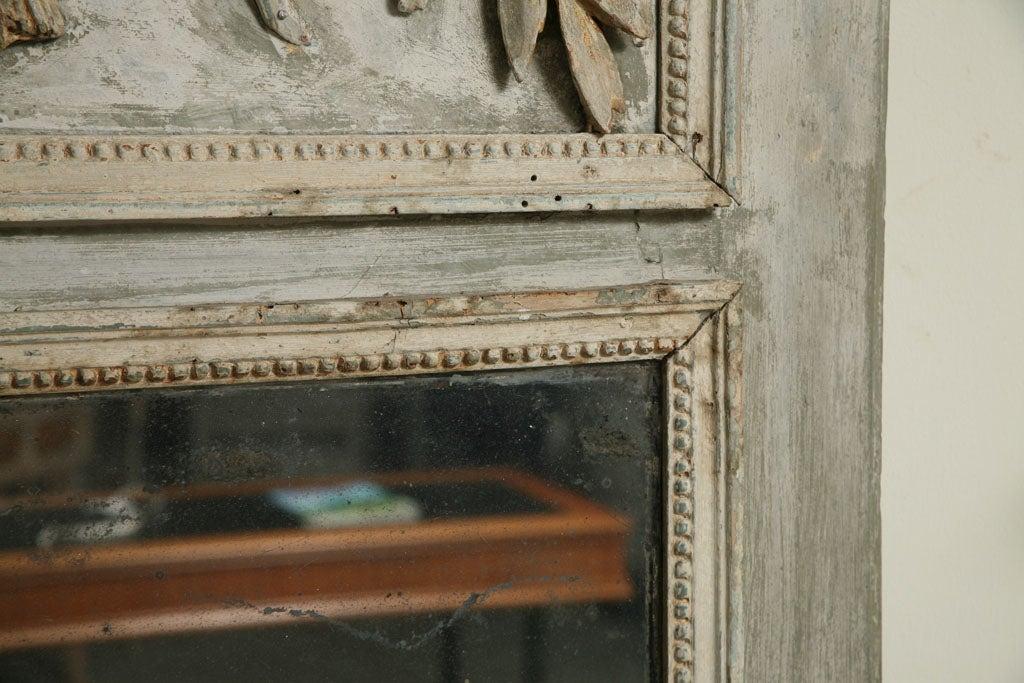Wood Light Blue Painted Louis XVI Trumeau Mirror For Sale