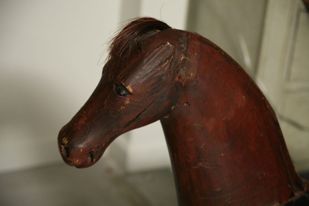 Swedish Painted Wooden Toy Horse For Sale