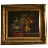 Still Life Painting of Basket of Fruit and Bird