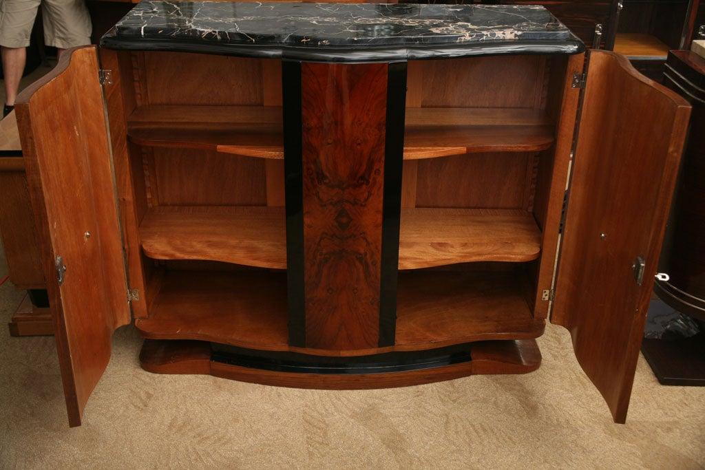 French Art Deco 2 Tone Exotic Walnut Porto Marble Buffet