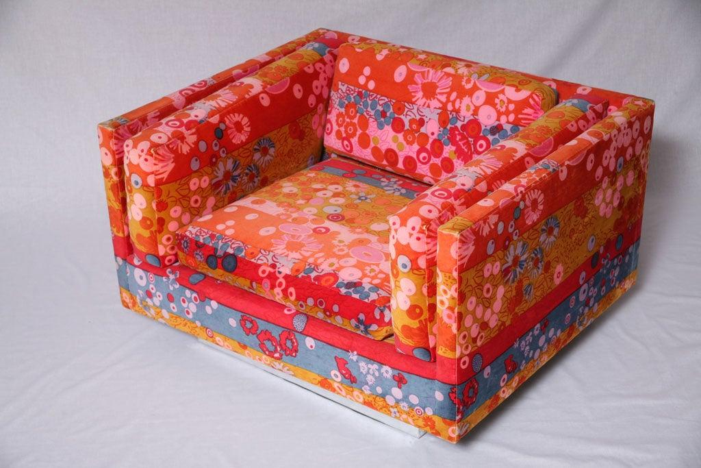 Swivel Club Chairs By Harvey Probber Jack Lenor Larsen
