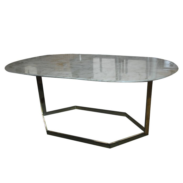 Ivory carrera marble topped brass table at 1stdibs for Table carrera