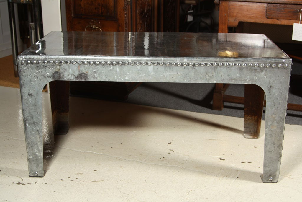 Industrial Water Tank Coffee Table Galvanized Metal Rivets Image 3