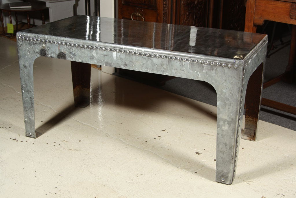 Industrial Water Tank Coffee Table Galvanized Metal Rivets Image 2