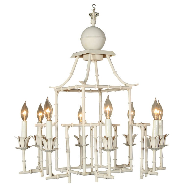 Italian Tole Faux Bamboo Chandelier At 1stdibs