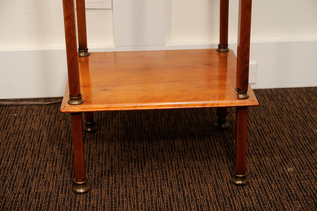 Biedermeier cigar desk made of solid oak with etched glass flip top with interior compartments.
