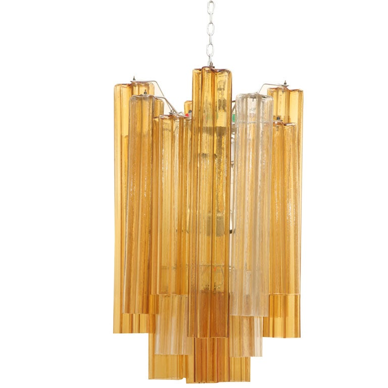 Two-Toned Clear and Amber Venini Chandelier