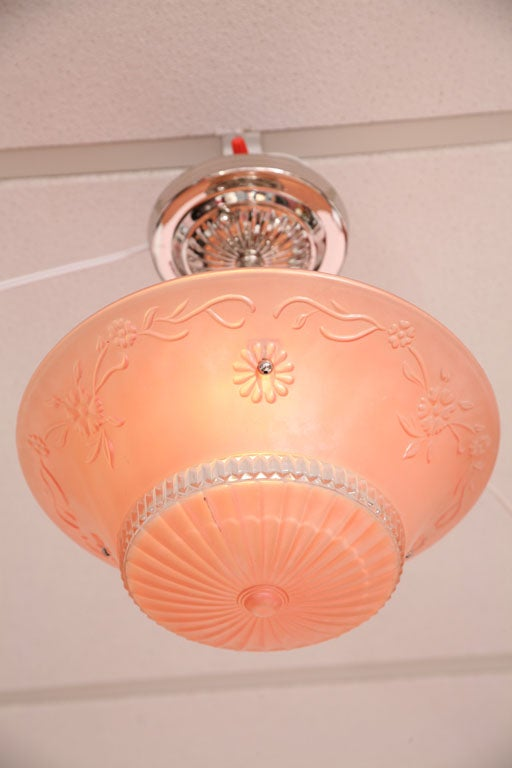 Pink Salmon Colored Original Deco Chandelier with Restored Nickel Hardware 3