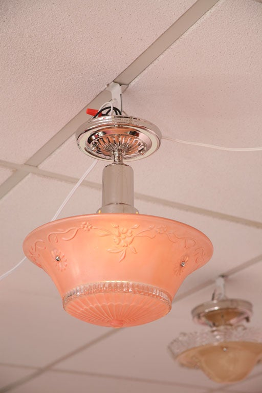 Pink Salmon Colored Original Deco Chandelier with Restored Nickel Hardware 4