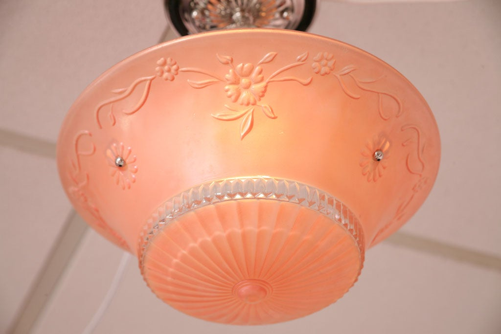 Pink Salmon Colored Original Deco Chandelier with Restored Nickel Hardware 5
