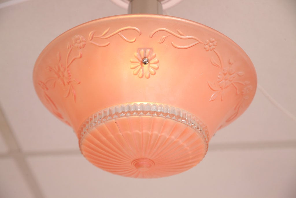 Pink Salmon Colored Original Deco Chandelier with Restored Nickel Hardware 9