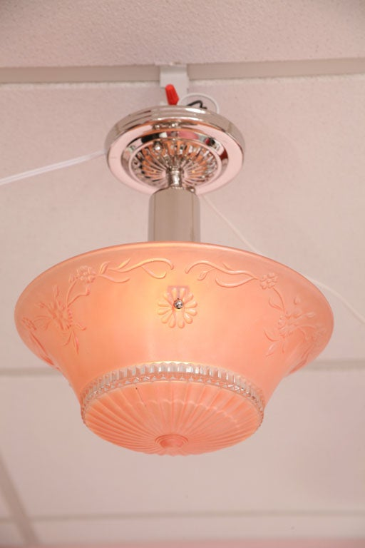 Pink Salmon Colored Original Deco Chandelier with Restored Nickel Hardware 2