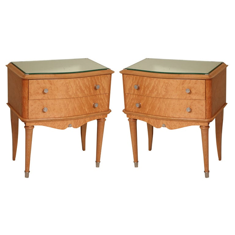 Pair of French Art Deco Night Stands in burr maple